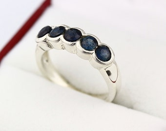 Natural Blue Sapphire  Solid 14K White Gold wedding band