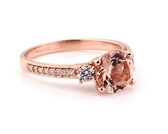 Natural AAA 8mm Round  Pink Morganite  Solid 14K Rose Gold Diamond engagement  Ring - Gem958