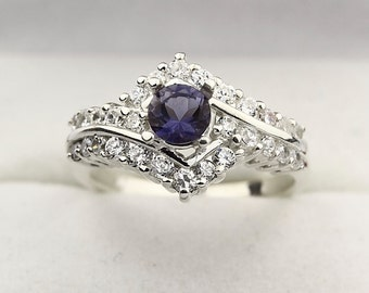Natural Blue Iolite  Solid 14K White Gold Diamond Ring