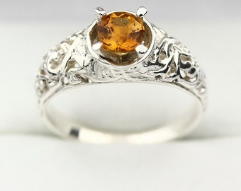 Natural 5mm Yellow Citrine Solid 14K White Gold Ring