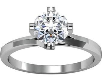 6.5mm  Round Forever One (GHI) Moissanite Solid 14K White Gold  Diamond  Engagement Ring-ST231144