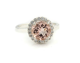 8mm Round 1.80 ct Natural  Morganite Solid 14K White Gold Diamond Engagement Ring - Gem917