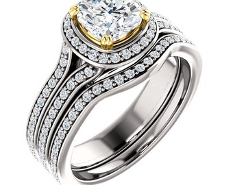 1ct Forever One (GHI) Moissanite Solid 14K White/Yellow Two Tone  Gold  Halo  Engagement  Ring Set - ST233349 &233340