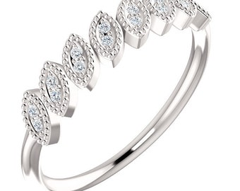 14kt White Leaf Ring  Natural Round Diamond Wedding Band , Aniversary Ring ST233084