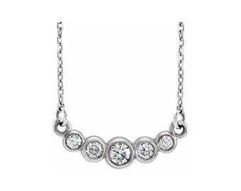 "14k White Gold 1/5 CTW  Graduated Diamond Bezel-Set 16- 18"" Necklace with Cable Chain"