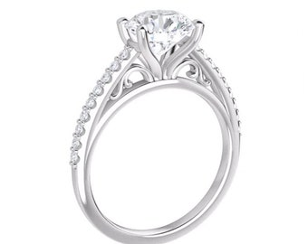 1.50CT Forever One Moissanite(GHI) Cathedral Style Engagement Ring Set,Cathedral Style style In14k White Gold(Center stone options available