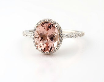 Natural AAA Fancy Pink Morganite  Solid 14K White Gold Diamond engagement  Halo Ring - Gem824