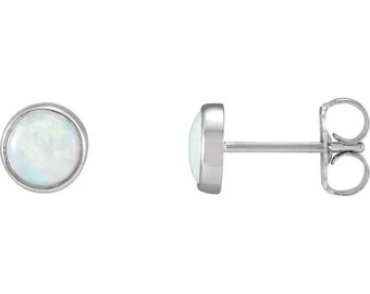 Genuine Australian White Opal  Cabochon Bezel Set Stud Earrings-6mm Round In 14K White / Yellow