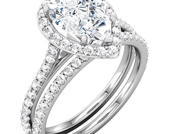 Forever One Moissanite and Diamond Accented Cathedral Halo Wedding Ring Set, 14k white gold   - ST232973