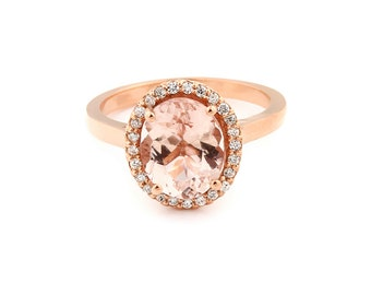 Natural AAA 10x8mm Pink Morganite  Solid 14K Rose Gold Diamond engagement  Halo Ring - Gem903