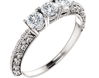 1 ct 3 Stone Forever One (GHI) Moissanite Solid 14K White Gold Vintage  Floral Ring - ST233862