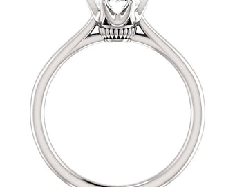 Certified  Forever One Moissanite Crown Engagement Ring ,Round Brilliant Cut Diamond Simulant Wedding Ring In Solid 14K White Gold - Gem1237