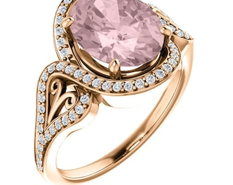 Natural AAA 10x8mm Oval  Morganite  Solid 14K Rose  Gold Diamond Engagement Ring Set-ST233631