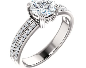 1ct Forever One (GHI) Moissanite Solid 14K White Gold   Engagement  Ring Set  - ST233487