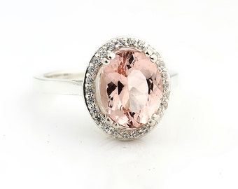 Natural AAA 10x8mm Pink Morganite  Solid 14K White Gold Diamond engagement  Halo Ring - Gem829
