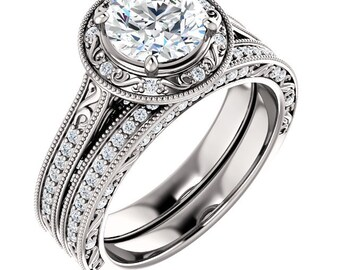 Certified Forever Brilliant Moissanite 14K White Gold Diamond ANTIQUE style Engagement Set-ST234149 (Other metals & stone options available)