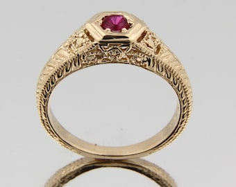 Vintage Solid 14k Yellow gold Lab Created Ruby Ring