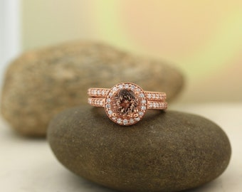 AAA Morganite  and Diamond Halo wedding Ring Set In 14k Rose Gold, 7mm Round  - Gem1291