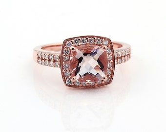 Natural AAA  Cushion (checkerboard cut ) Morganite Solid 14K Rose Gold Diamond engagement Ring