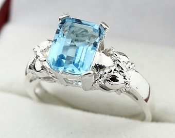 Natural  8x6MM Swiss Blue Topaz Solid 14K White Gold Solitaire Ring