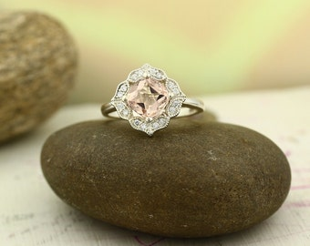 Floral Design Morganite Engagement Ring 14K White Gold Diamond Halo Wedding Ring (Other metals & stone options available)-Gem1141