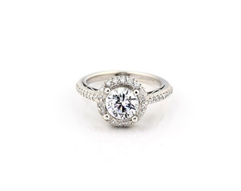 Stunning 6.5mm  White Sapphire Solid  14k white gold diamond  Halo Engagement Ring Gem1255