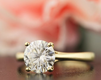 2ct Moissanite Engagement Ring Solid 14K Yellow Gold (Simulated Diamond available)  - Gem1036