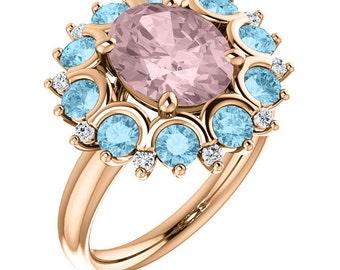 Natural AAA 10x8mm Oval  Morganite   Solid 14K Rose Gold Diamond Aquamarine  halo Engagement Ring Set-ST82601