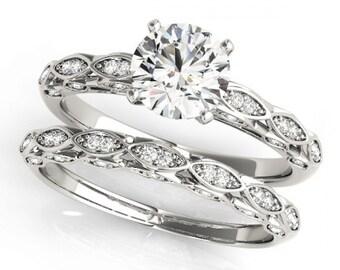 Forever Brilliant Moissanite and Diamond  Vintage Style Engagement  Ring Set in 14K White Gold - OV62155