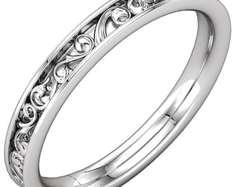 Sculptural Style Eternity Band, Engraved Wedding band in 14kWhite  Gold
