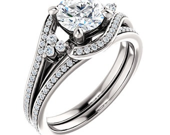 1ct Forever One (GHI) Moissanite Solid 14K White Gold   Engagement  Ring Set  - ST233774 (Other metals and stone options available)