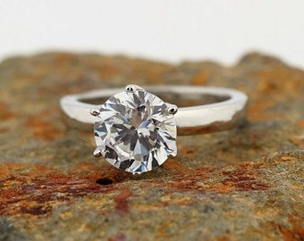 1.00ct to 1.50ct  Forever One Moissanite Colorless Solitaire  Engagement Ring in 14K White Gold  - Gem609