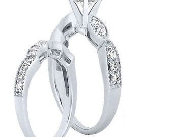 1 carat 6.5mm Round Forever One (GHI) Moissanite Solid 14K White Gold Engagement  Ring set  ENS4164
