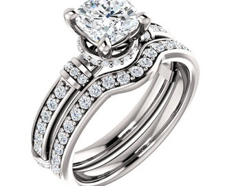 Ready to ship 1.50 CTTW Diamond  princess cut Forever brilliant moissanite ring set -14k white Gold (size 7)-Ready to ship