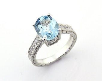 AAA Stunning Natural Aquamarine  Solid 14K White Gold Diamond engagement Ring-antique style - Gem663