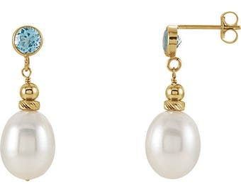 14K Yellow Gold Freshwater Cultured Pearl and Swiss Blue Topaz Earrings