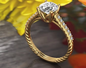Solid 14K Gold 1.25CT Round Moissanite (DEF) Fancy Rope  Style   Engagement Ring ,Diamond Ring ,Moissanite wedding ring  Gift For Her