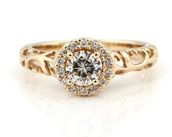 1/2ct 5mm Forever One (GHI) Moissanite  Solid 14k Yellow gold Antique Floral Style diamond Engagement Ring Set- Ov61966