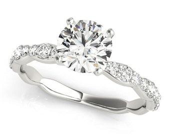 1 ct Forever Brilliant Moissanite  Solid 14k white gold diamond Engagement Ring- Ov95878
