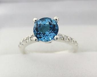 Natural  VVS Swiss Blue Topaz Solid 14K White Gold Diamond engagement  Ring
