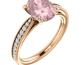 Natural AAA 10x8mm Oval  Morganite  Solid 14K Rose Gold Diamond Engagement Ring Set-ST82799