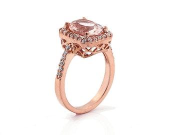 Natural  Morganite Solid 14K Rose Gold Diamond engagement Ring----Special - Gem593