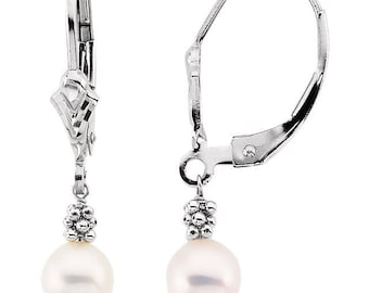 14K White 5.5-6mm Freshwater Cultured Grey Pearl Lever Back Earrings-ST32504
