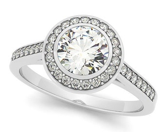 6mm   3/4Ct  Round Forever One (GHI) Moissanite Solid 14K White Gold Diamond Halo Engagement  Ring   - OV95585