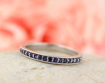 Stackable Half Eternity Blue Sapphire Milgrain Wedding Band Ring   In 14k White  ,Rose or Yellow Gold ST233025-1482