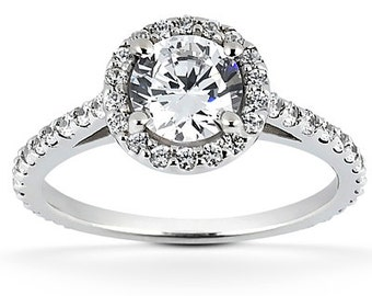 1.00 carat 6.5mm Round Forever One (GHI) Moissanite Halo Diamond Engagement Ring ENR8904