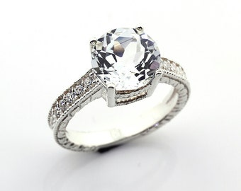 Stunning Natural AAA White Topaz  Solid 14K White Gold Diamond engagement Ring-antique style Gem663
