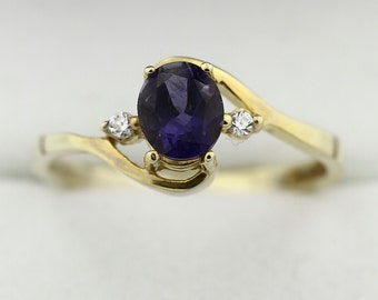 6x5mm  Natural Violet Iolite Solid 14K Yellow Gold Diamond Ring