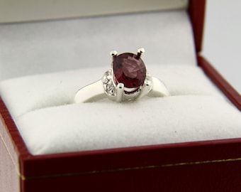 Natural Pink Spinel Solid 14K White Gold Diamond Ring
