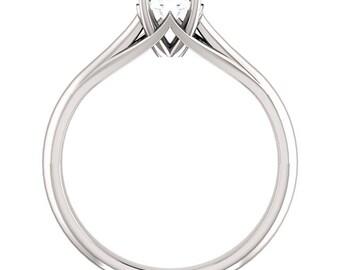 5mm Round 0.5ct Forever One (GHI) Moissanite 14K White Gold Diamond Engagement Ring ST233158-887